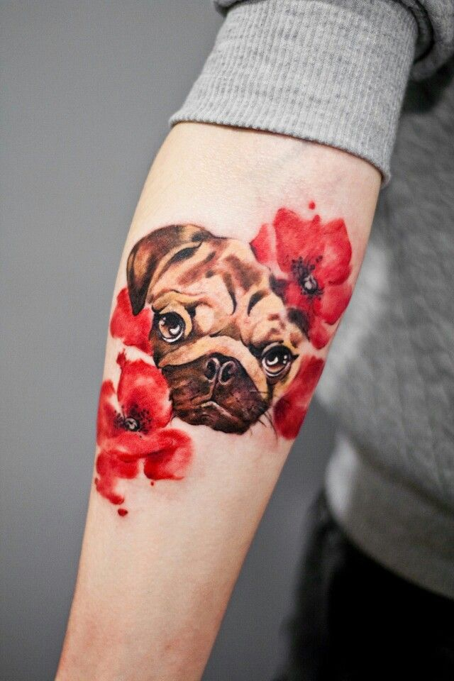 Pug tattoo. Want one with my pug