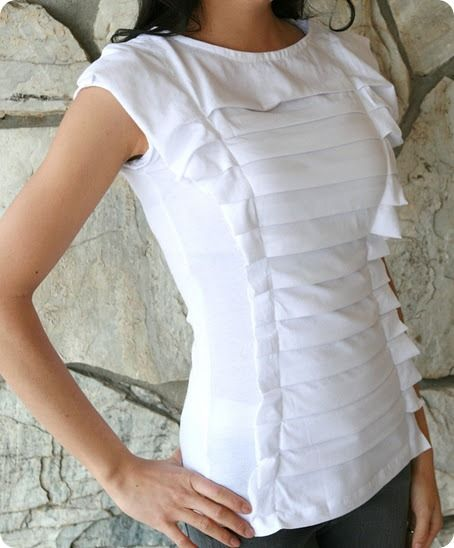 white pleated topSewing, Tees Shirts, Anthropologie Squeezebox, T Shirts Diy, Diy Tutorial, Diy Shirts, Crafts, Tops Diy, Squeezebox Tops