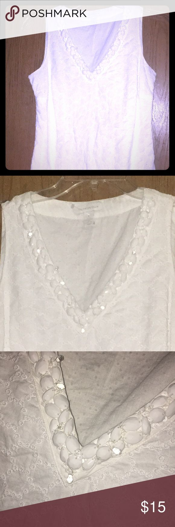Darling summer top!! Very darling, white, beaded V-neck, light cotton eyelet summer top. Has a lining so it's not see through. This top is a little longer, definitely drops past the waist, mid butt. Lots of life left!! Charter Club Tops Tunics