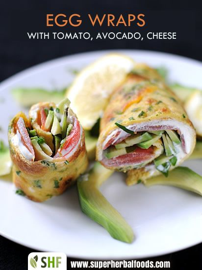 Egg Wraps with tomato, avocado and cheese. Looks yummy and easy to make into a gluten free canape for my friends who are gluten free!