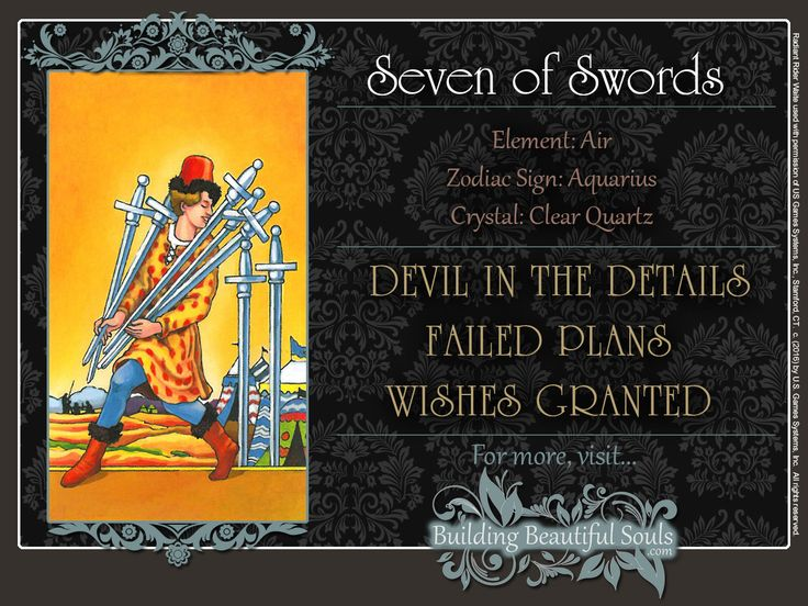 THE Seven of Swords TAROT CARD MEANINGS - UPRIGHT& REVERSED! The Seven of…