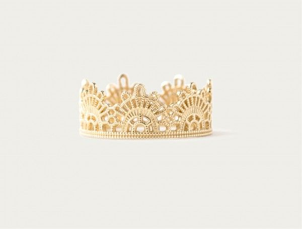 Otiumberg Half Lace Ring. // The most royal of our Grace Lee Collection, we present the solid 14K gold Lace Crown. 13mm wide at the widest. Wrap your finger in gold lace. Given the width of the Lace we recommend ordering a half size up.