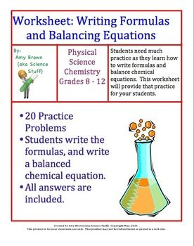 Worksheets 1000 Unbalanced Chemical Equation 1000 images about chemical equations and stoichiometry on formulas balancing equations