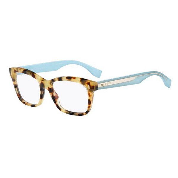 Fendi FF 0027 COLOR BLOCK HK5 Eyeglasses (€170) ❤ liked on Polyvore featuring accessories, eyewear, eyeglasses, fendi glasses, fendi eyewear, fendi eye glasses, blue lens glasses and fendi