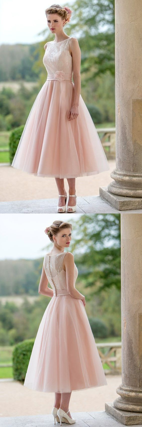 Best 25 tea length bridesmaid dresses ideas on pinterest tea tea length bridesmaid dresses 2016 light pink lace bateau sheer neck tulle wedding party gowns with hand made flowers cheap elegant ombrellifo Image collections