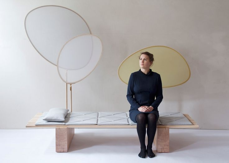 Austrian studio chmara.rosinke created this Japanese-influenced daybed with rotating textile screens as a place to retreat and think, for a design competition run by fashion house Hermès.