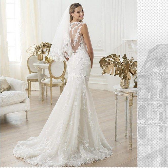 sexy lace flower V neck sleeve mermaid wedding dress fashion 2017 new style train vestido de noi ...