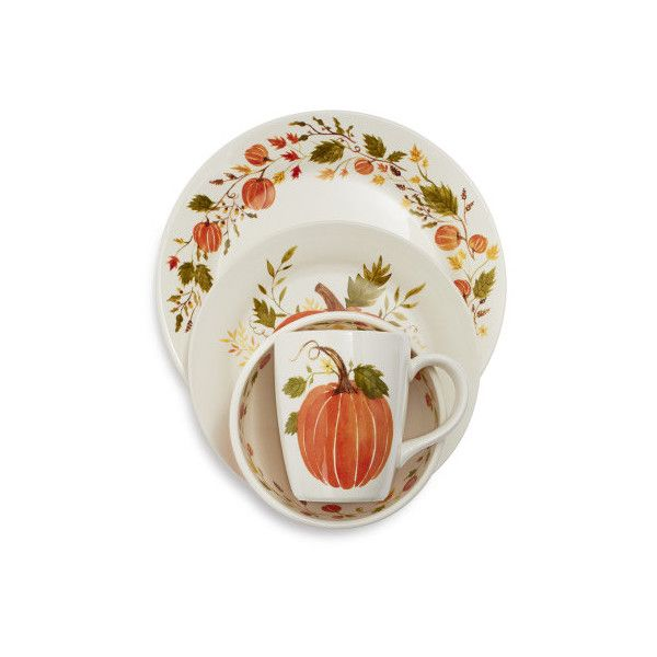 Pumpkin 16-Piece Dinnerware Set ($75) ❤ liked on Polyvore featuring home, kitchen & dining, dinnerware, thanksgiving dinnerware, sur la table, rustic dinnerware, fall dinnerware and dinner-ware