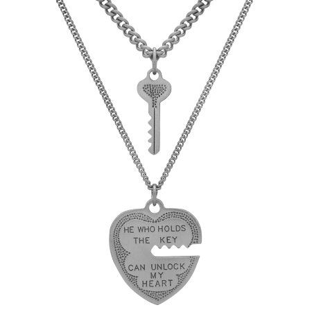 Sterling Silver Heart and Key Pendant 2-Piece Set, 18 inch Stainless Steel Chain, Adult Unisex