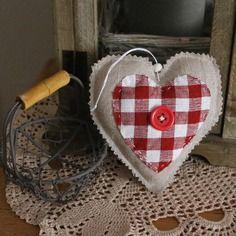 Décoration de noël coeur en tissu a suspendre