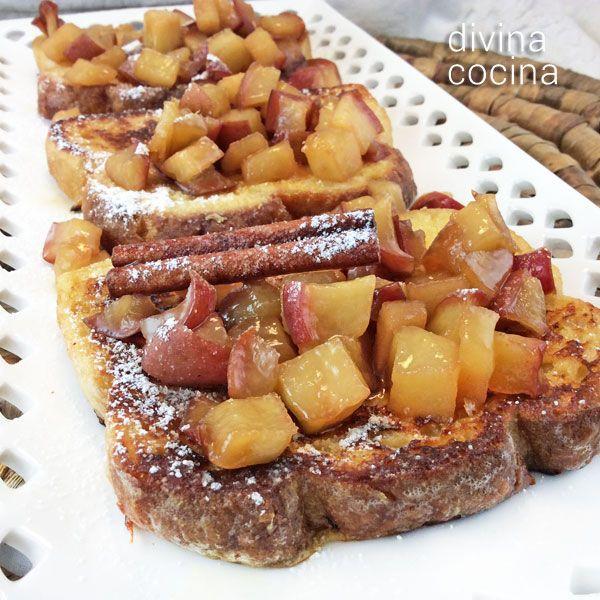 Estas tostadas francesas con manzanas caramelizadas se complementan con una compota fácil de fruta que le da mucho sabor y jugosidad. La compota la puedes preparar con el mismo procedimiento con peras.