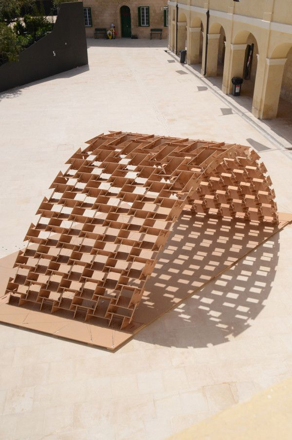 Plate Pavilion at The Malta Design Week - use of shape in a simple material that casts great shadows