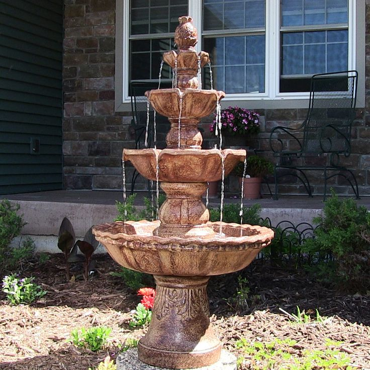 4 Tier Outdoor Waterfall Garden Fountain Electric Pump Pineapple Top Yard  Decor #SunnydazeDecor