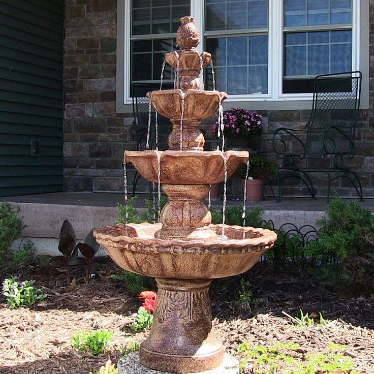 4 Tier Outdoor Waterfall Garden Fountain Electric Pump Pineapple Top Yard  Decor #SunnydazeDecor