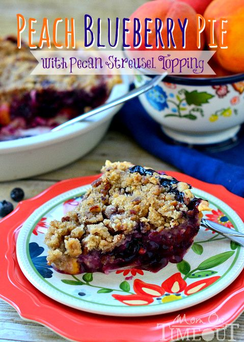 Peach Blueberry Pie with Pecan Streusel Topping from MomOnTimeout.com
