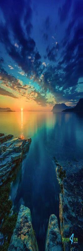 Arctic Ocean at midnight - Northern Norway