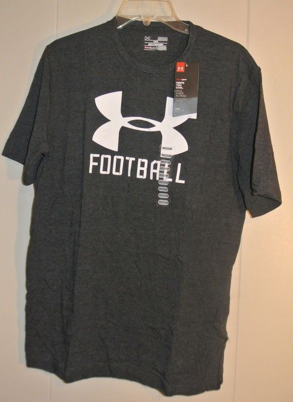 e5c3271a8 Men's NWT Under Armour Medium Gray Heat Gear Football Short Sleeve Fitness  Shirt #Underarmour