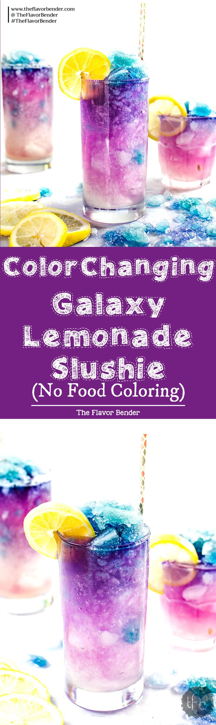 Color Changing Galaxy Lemonade Slushie - There's no food coloring in this Color Changing Lemonade Slushie! Just a dash of magic from butterfly pea magic ice and delicious lemonade that kids and adults will love. The ultimate Summer Lemonade drink! #Butterflypea #GalaxyLemonade #ButterflypeaLemonade #ColorChangingDrinks via @theflavorbender