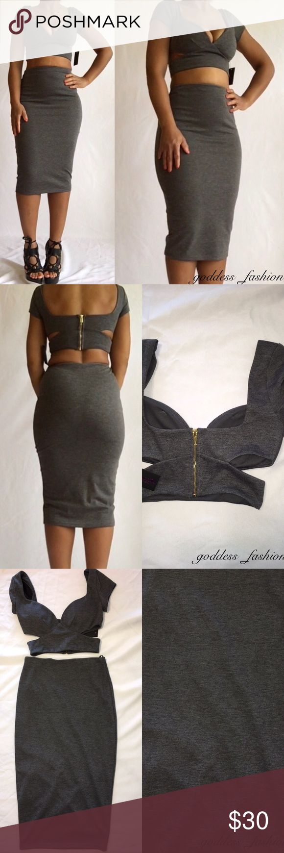 Grey Two Piece Skirt Set Hot Miami styles grey pencil skirt set Brand new with tags.95% polyester ,5% spandex Hot miami styles Skirts Skirt Sets
