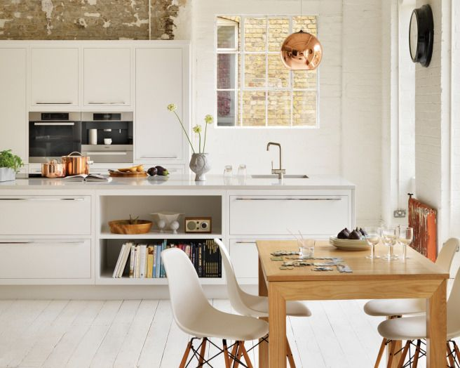 photo of modern white copper harvey jones kitchen with lighting kitchen island whitewashed floorboards