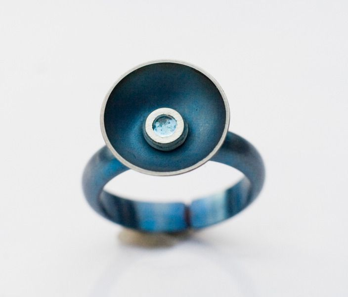 Blue topaz titanium ring from Arpelc Blue Titanium Jewelry by DaWanda.com