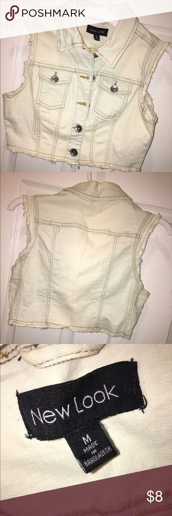 Crop denim jacket Sleeveless denim cropped jacket Other