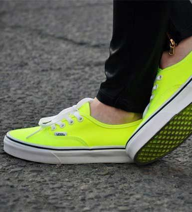 neon vans #shoes love the sole of them too! NEON. AAAND i even have black jeans with zippers on the ankle(: its meant to be.