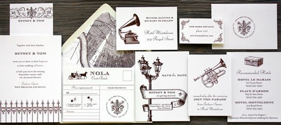 St. Charles Avenue: New Orleans themed wedding invitation suite from PostScript Brooklyn