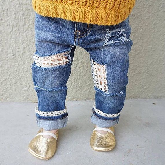 Discount: kadence10 Girls Hand Distressed Skinny Jeans with Lace Hello Dolly by FarmFreshDenim