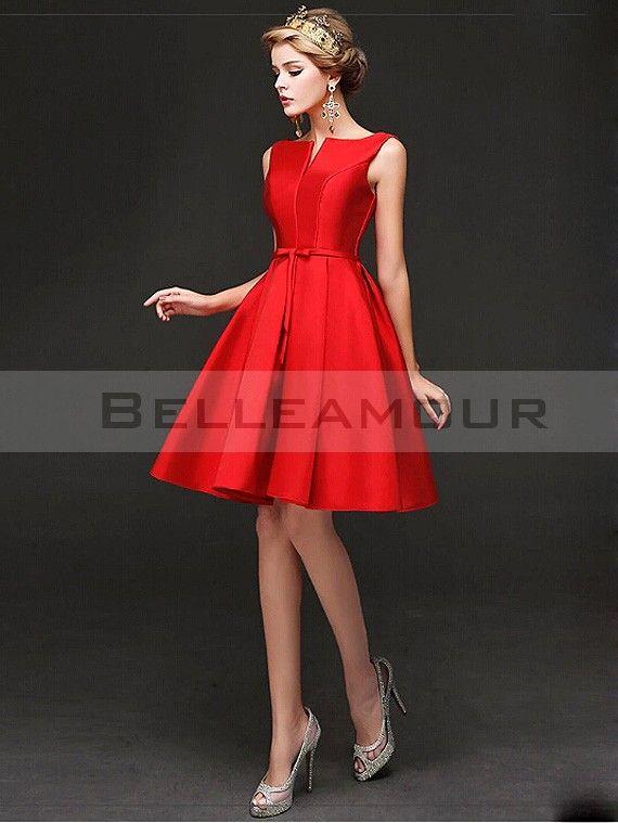 Robe demoiselle d'honneur Rouge Courte Satin Chic