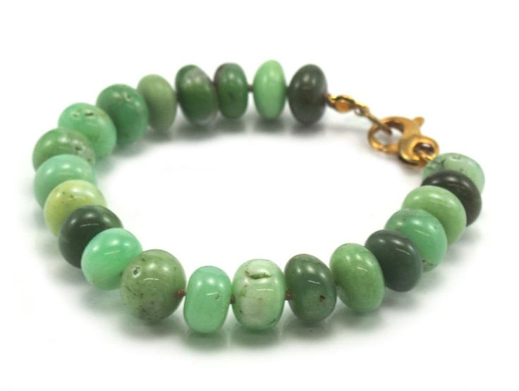 Chrysoprase Bracelet with Gold Filled Fancy Lobster Claw Clasp