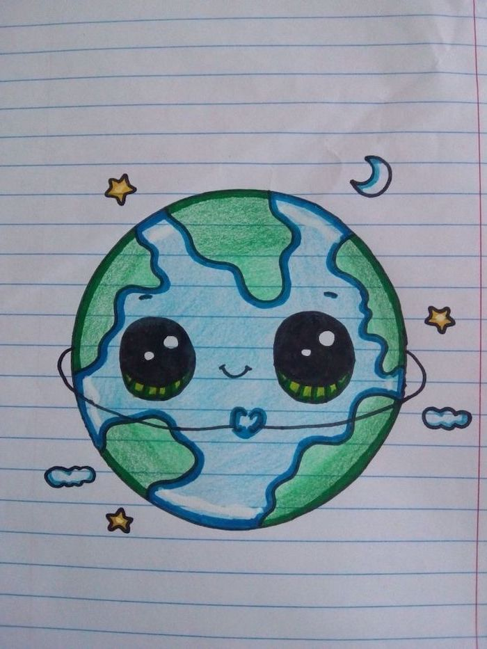 Planet Earth Cartoon With Eyes Things To Draw When Bored Moon And Stars Around It In 2020 Cute Easy Drawings Easy Drawings Earth Drawings