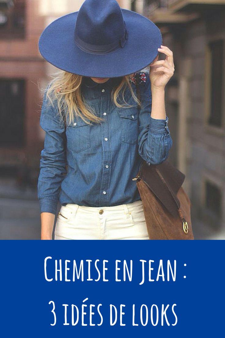 3 idées de looks avec une chemise en jean à retrouver sur le blog. #jeans #chemisejeans