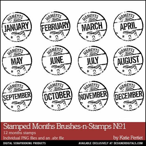 Stamped Months Brushes and Stamps