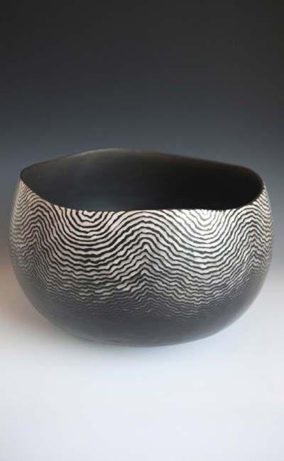 David Roberts - 'Ripple II' Coil-built, raku fired ceramic  cm.