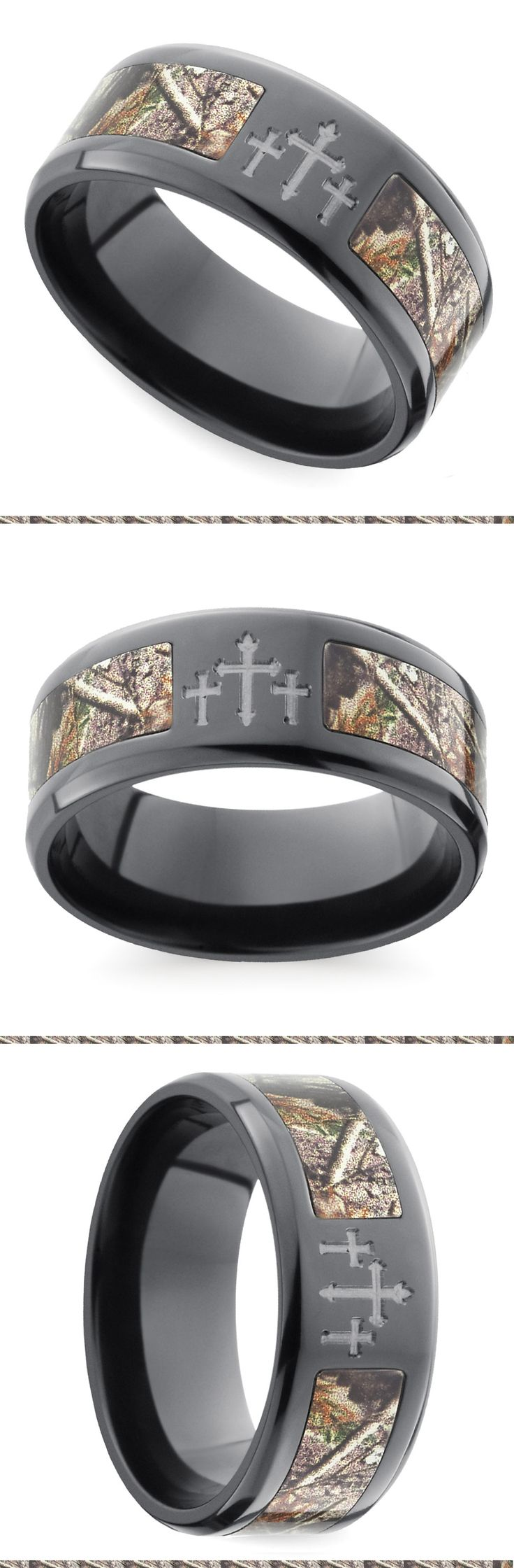 Three crosses adorn the top of this 9 mm zirconium band with a Realtree camouflage inlay and beveled edges for a smooth finish. Proudly made in the USA and comfort fit.