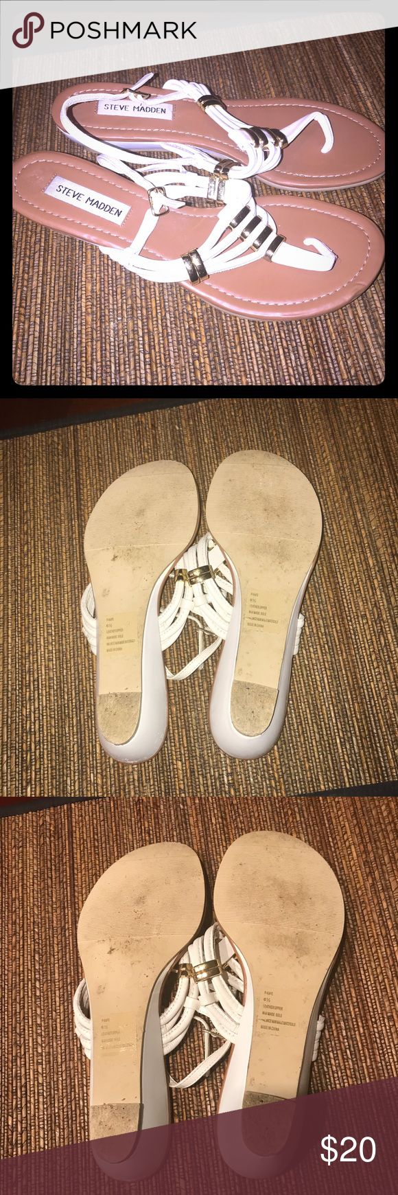 Steve Madden White and gold sandals Steve Madden p-Kape White and gold summer sandals  1.98-2 inch heel  I have these in black and don't need them in white  Worn but in great condition Leather upper with gold buckle details Functional ankle strap buckle closure Size 6.5 Steve Madden Shoes Sandals
