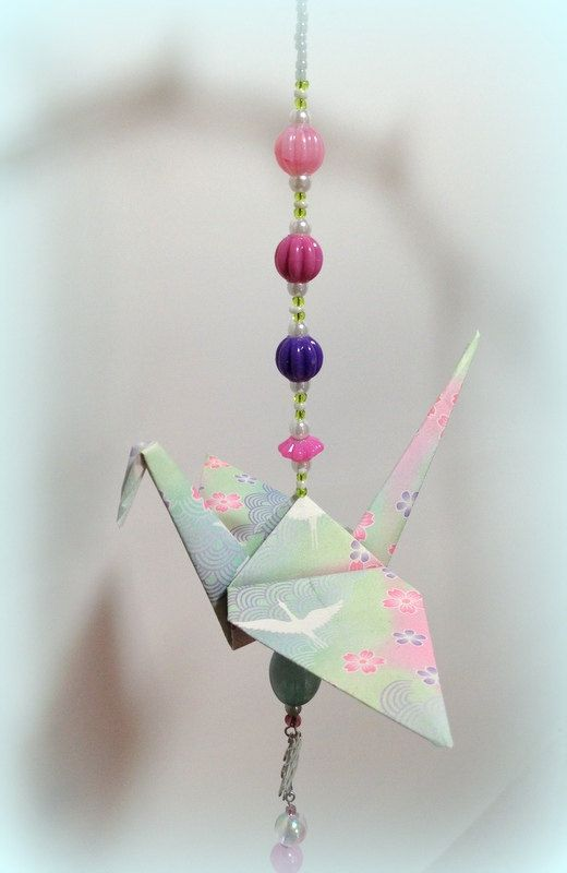 Embellished Origami Crane Beaded Dangle Ornament as an Asian Accent Lawn Garden Party Decor for Wedding Favor or Japanese Restaurant Decor by FlyingCraneOrigami on Etsy