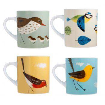 Magpie Birdy Mugs Set of 4