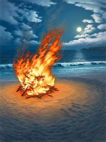 beach fire and moon