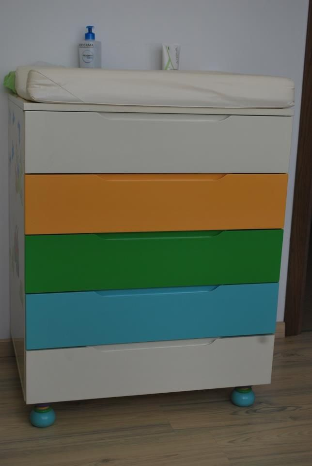 painted closet with drawers for kids