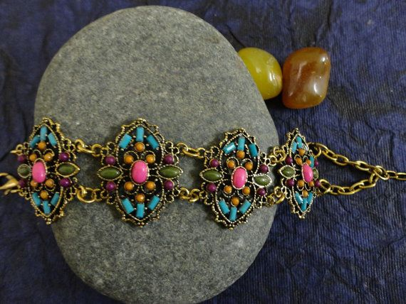 Unique Multi-Color Delicate Chain Bracelet by OMyGlam on Etsy