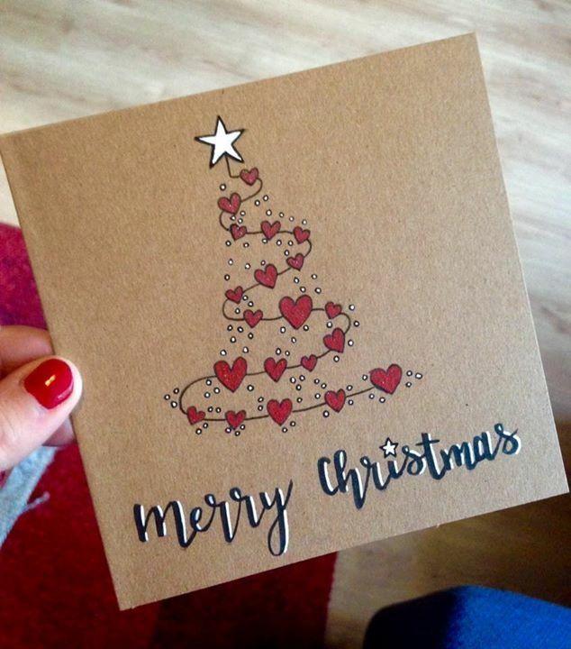 Weihnachten Karte selbstgemacht Herzen Lettern Zeichnen Malen