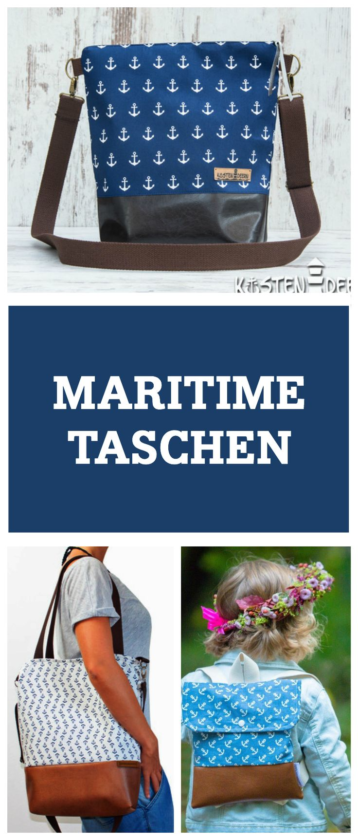 Die schönsten maritimen Taschen mit Anker, Möwe oder Steuerrad / perfect for your nautical outfit: maritime bags with anchor or seagull print via DaWanda.com