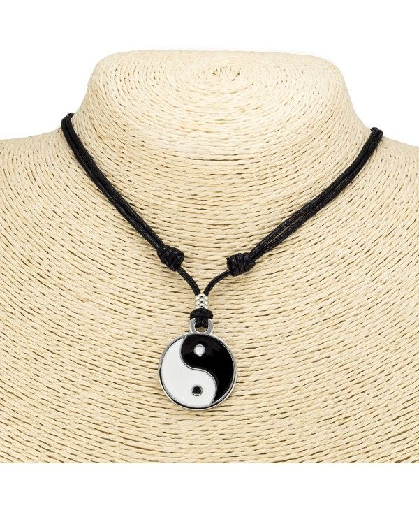 Yin Ying Yang Pendant Black White Necklace Charm with Black Leather Cord up