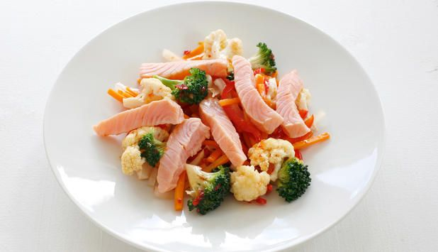 Laks i wok sammen med grønnsaker er en enkel middagsrett som smaker kjempegodt. Her kan du variere med grønnsaker etter eget ønske.