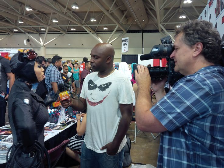 #YayaHan chatting with Comix Asylum's Kwame and Claude at #FanExpo 2014 in Toronto.