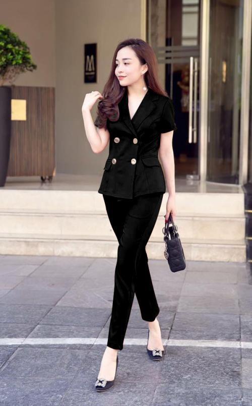 Set bộ công sở vest sang trọng kèm thắt lưng màu đen