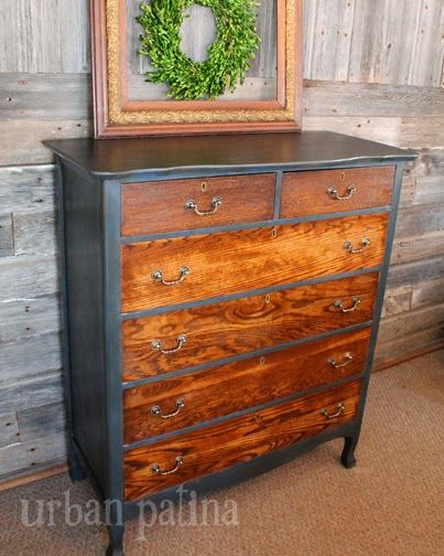 Urban Patina™: Rescued Relics + Upcycled Junk: Smoky Aubusson Blue Chest of Drawers