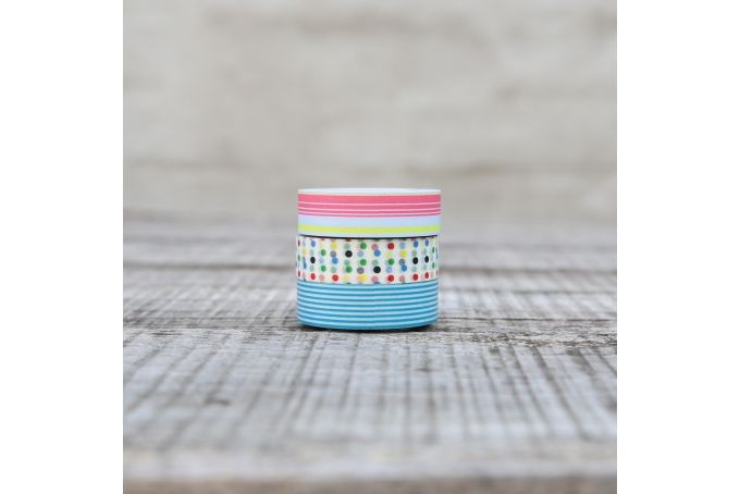 Washi Tape - Blue Stripes, Multi-Colour & Polka-Dots  - Pack of 3 by Besotted